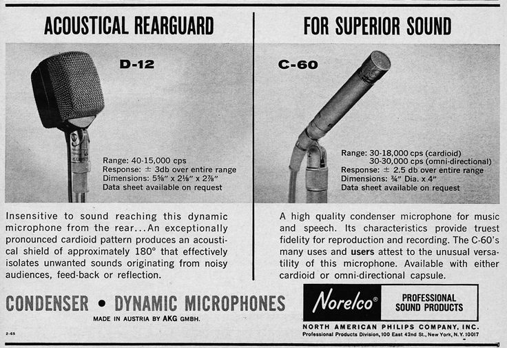 1966 ad for the Norelco D12 microphone in Reel2ReelTexas.com's vintage recording collection