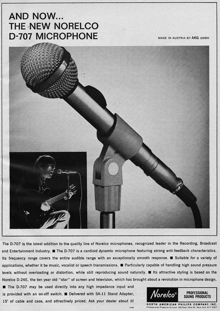 1966 ad for the Norelco D707 microphone in Reel2ReelTexas.com's vintage recording collection