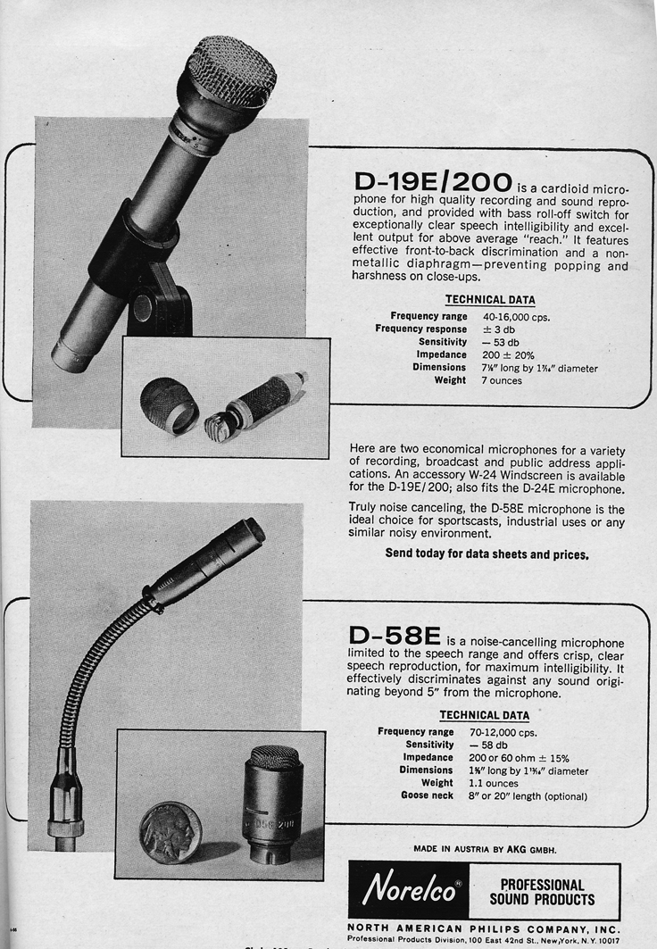 1966 ad for the Norelco microphones in Reel2ReelTexas.com's vintage recording collection