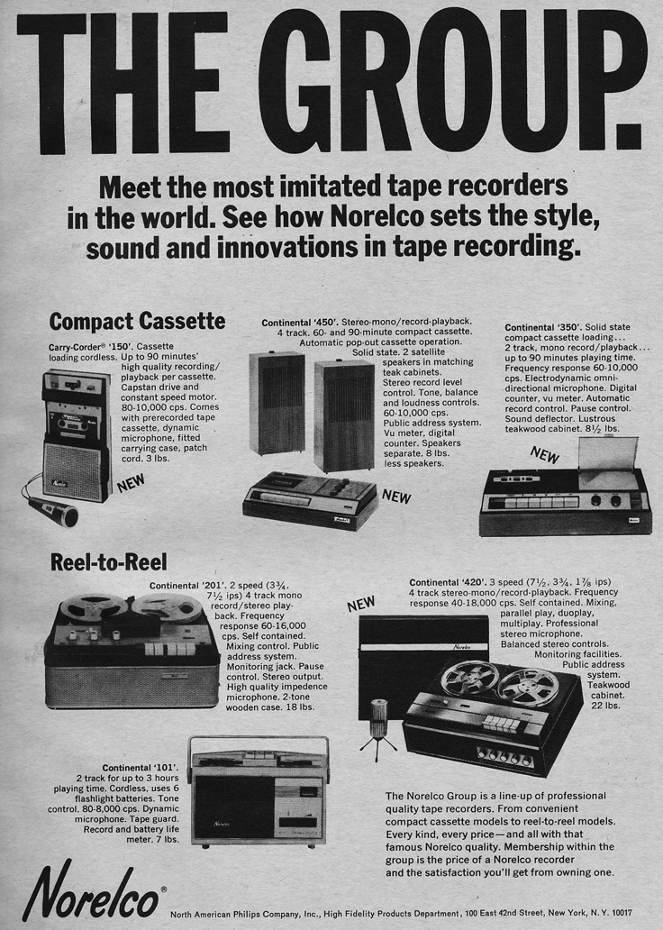 1966 ad for Norelco reel to reel tape recorders  in Phantom Productions' vintage reel recorder collection