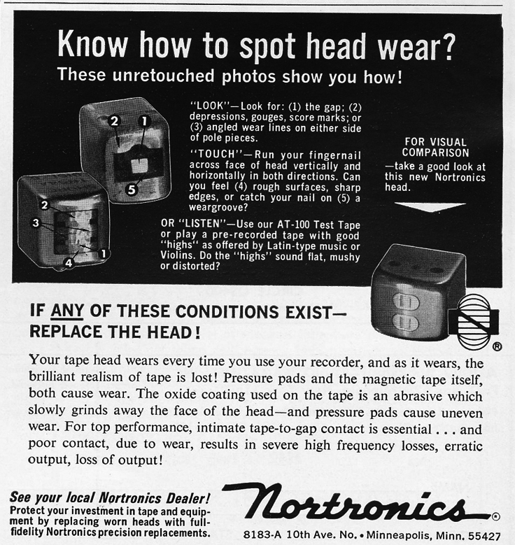 1966 ad for Nortronics tape recorder heads in Phantom Productions' vintage reel recorder collection