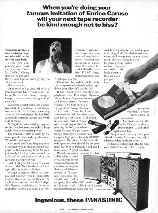 1966 ad for Panasonic tape recorders in Phantom Productions' vintage reel recorder collection
