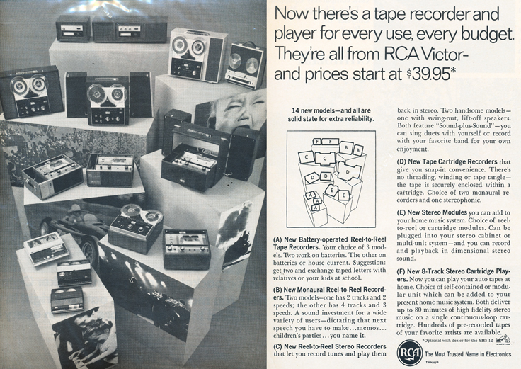 1966 ad for RCA reel to reel tape recorders in Phantom Productions' reel tape recorder collection