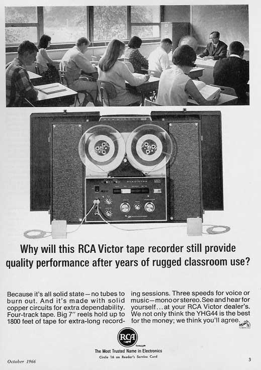 1966 ad for RCA tape recorders in Phantom Productions' vintage reel recorder collection