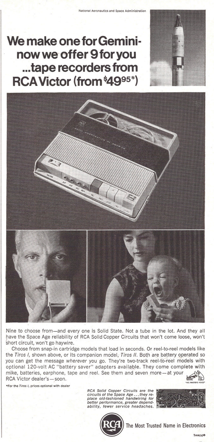 1966 ad for RCA reel to reel tape recorders in Phantom Productions' vintage reel recorder collection