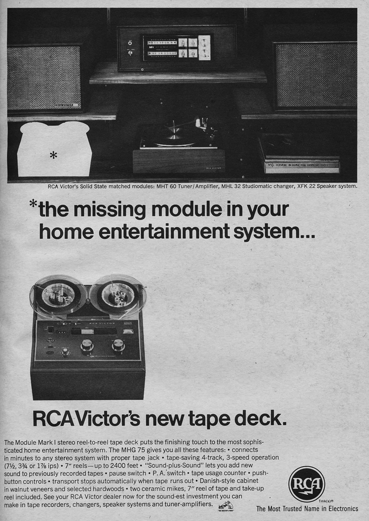 1966 ad for the RCA Mark IV reel to reel tape recorder in Phantom Productions' vintage reel recorder collection
