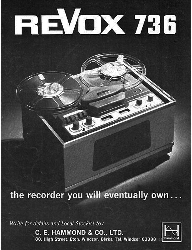 1966 ad for the ReVox 736 reel tape recorder  in Phantom Productions' vintage reel recorder collection