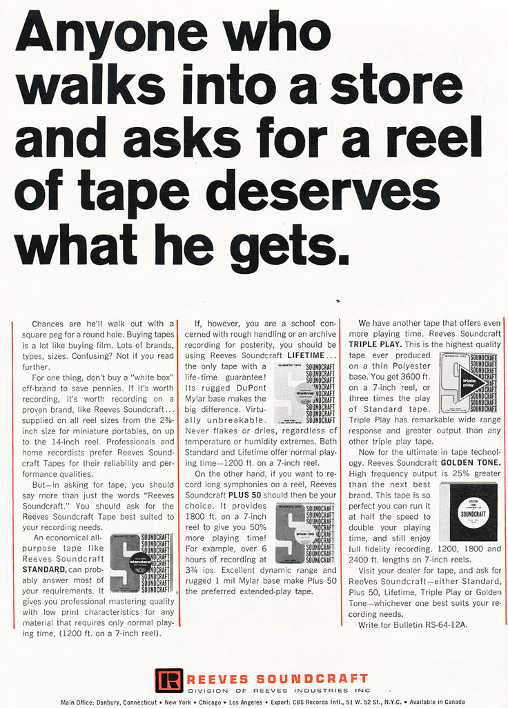 1966 ad for Reveves Soundcraft reel recording tape  in Phantom Productions' vintage reel recorder collection