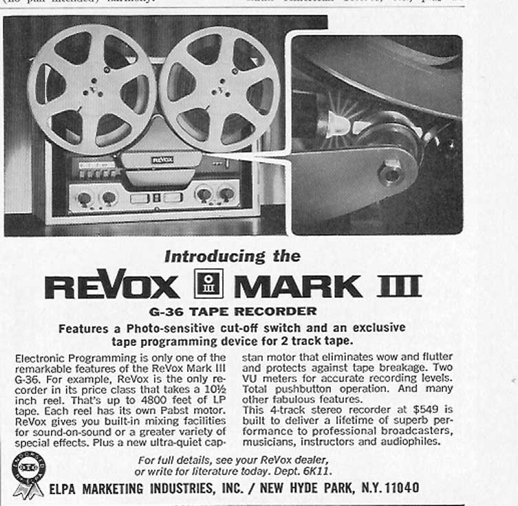 1966 ad for Revox Mark III tape recorders in Phantom Productions' vintage reel recorder collection