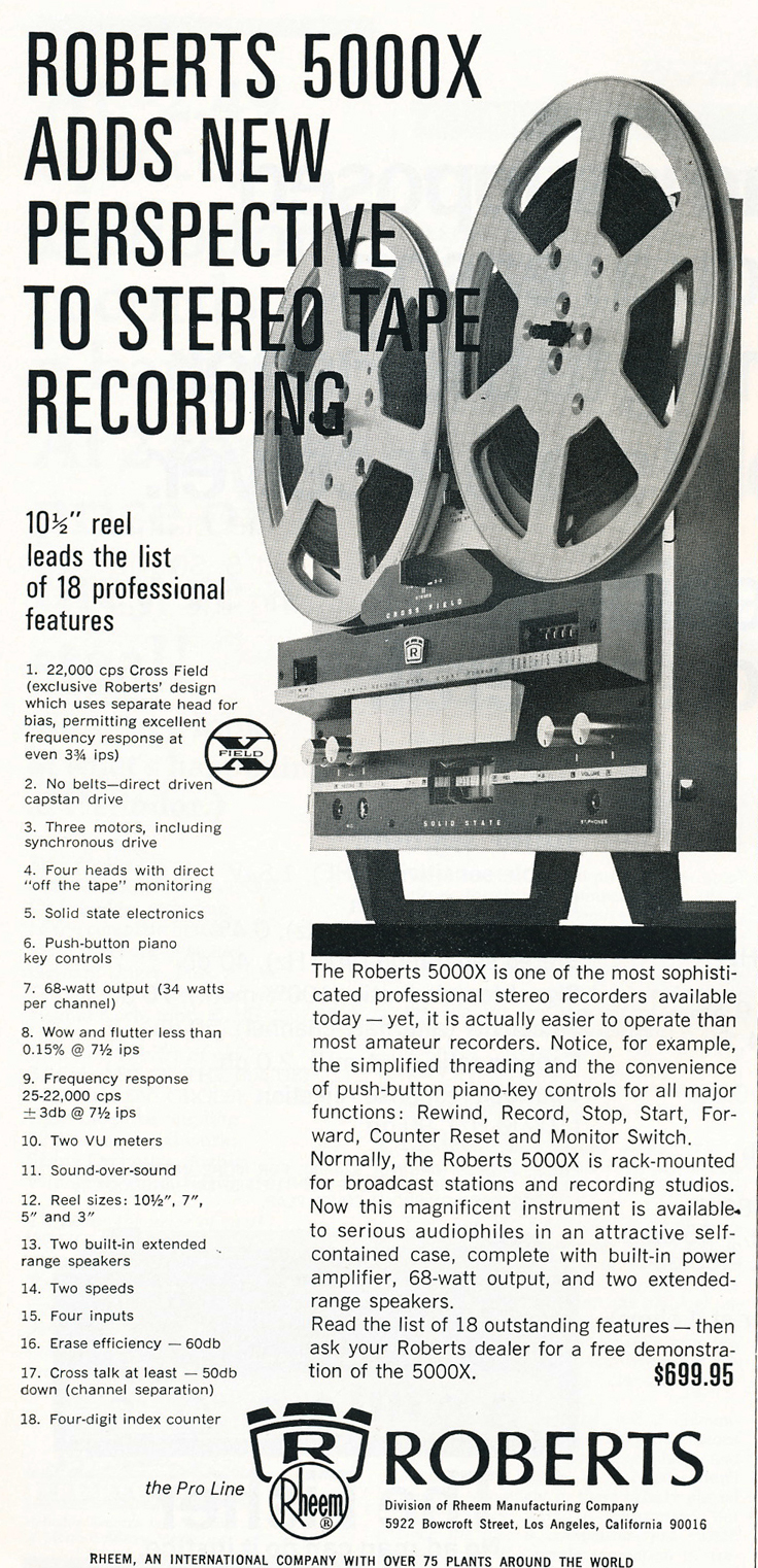 1966 ad for the Roberts 5000X reel tape recorders in Reel2ReelTexas.com vintage reel to reel tape recorder collection