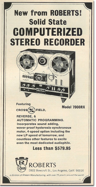 picture of 1966 Roberts 7000X tape recorder ad