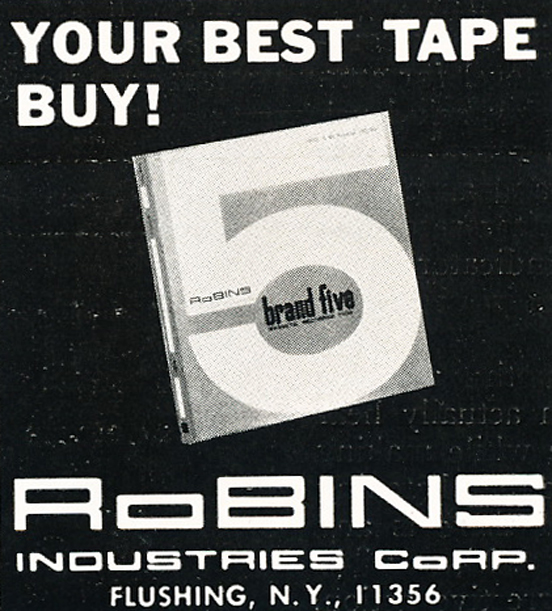 1966 ad for Robins recording tape in Reel2ReelTexas.com vintage reel to reel tape recorder collection
