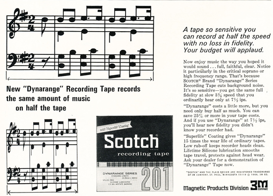 1966 ad for Scotch 3m reel to reel recording tape in Reel2ReelTexas.com vintage reel to reel tape recorder collection