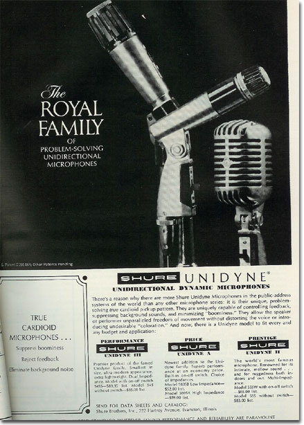 picture of 1966 Shure microphone ad