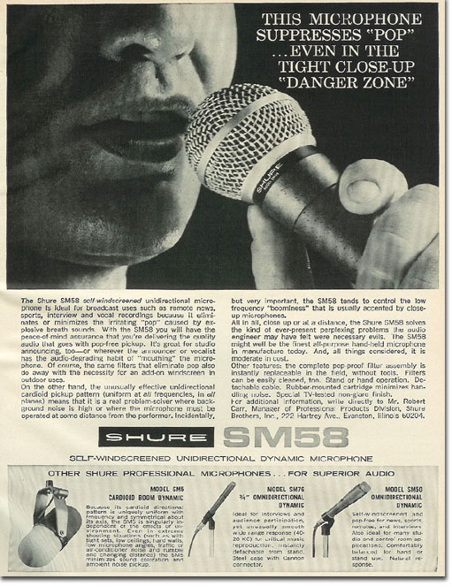 picture of 1966 Shure SM58 micrphone ad