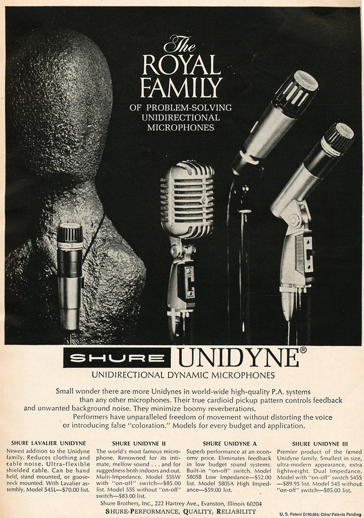 1966 ad for the Shure Unidyne microphone  in Reel2ReelTexas.com vintage reel to reel tape recorder collection
