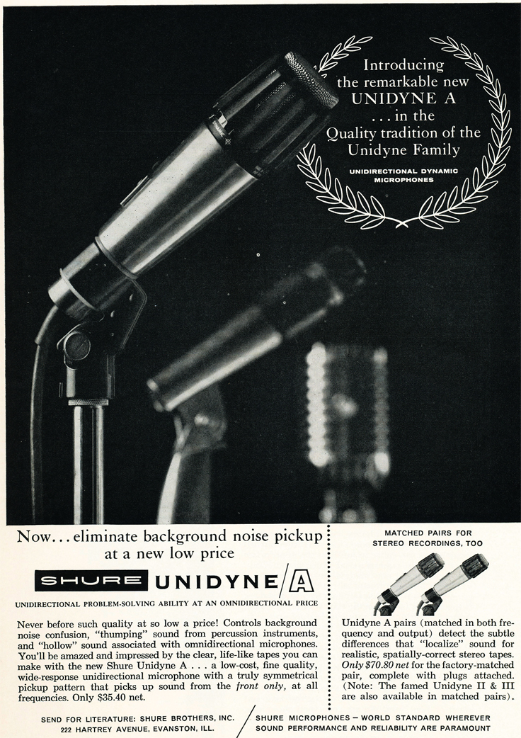 1966 ad for the Shure Unidyne A  in Reel2ReelTexas.com vintage reel to reel tape recorder collection