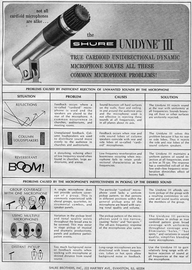 1966 ad for the Shure Unidyne III microphone in Reel2ReelTexas.com vintage reel to reel tape recorder collection