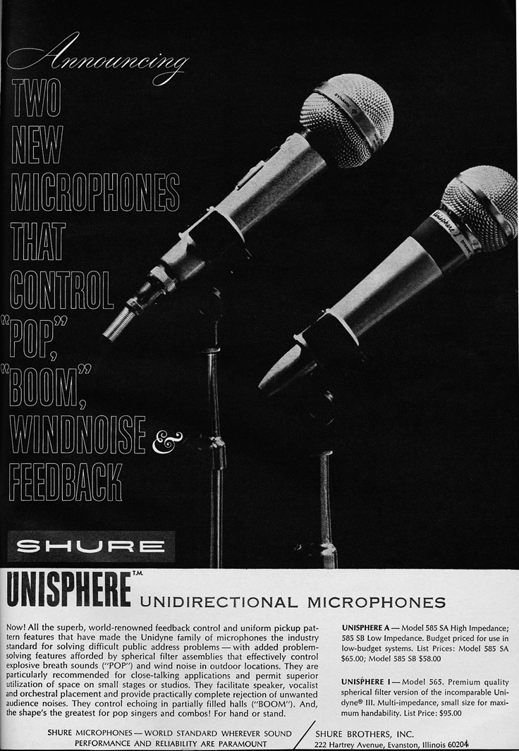 1966 ad for the Shure Unisphere microphone  in Reel2ReelTexas.com vintage reel to reel tape recorder collection