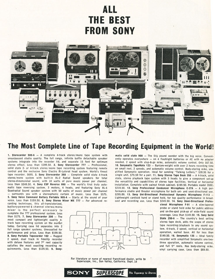 1966 ad for Sony tape recorders in Reel2ReelTexas.com vintage reel to reel tape recorder collection