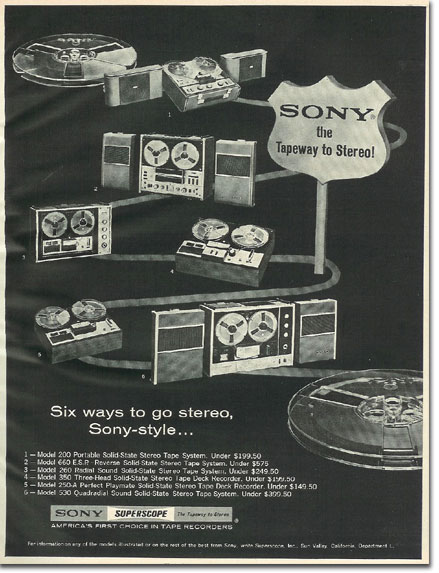 picture of 1966 Sony tape recorder ad