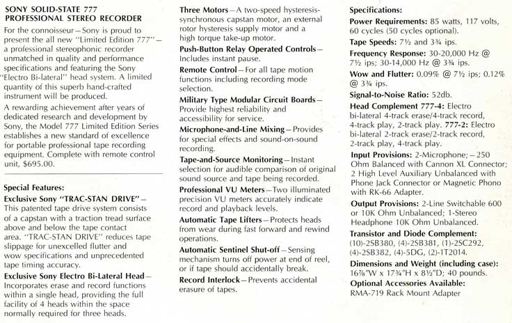 1966 Specifications for the Limited Edition Sony 777 reel tape recorder in Reel2ReelTexas.com's vintage recording collection