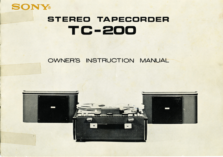 1966 manual cover for the Sony TC-200 in Reel2ReelTexas.com vintage reel to reel tape recorder collection