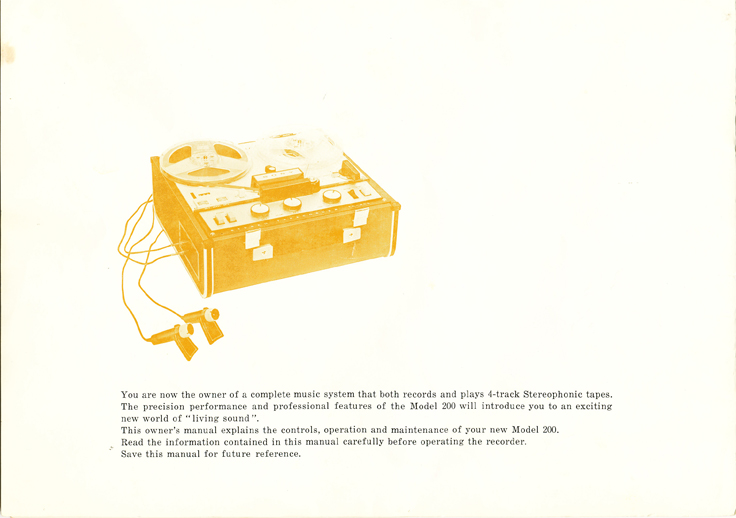 1966 manual page  for the Sony TC-200 in Reel2ReelTexas.com vintage reel to reel tape recorder collection