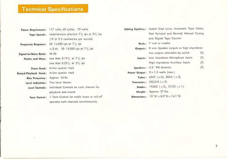 1966 manual page showing the specifications  for the Sony TC-200 in Reel2ReelTexas.com vintage reel to reel tape recorder collection