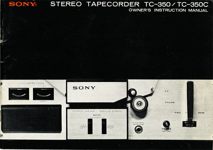 1966 Sony TC 350 manual in Reel2ReelTexas' vintage reel tape recorder collection