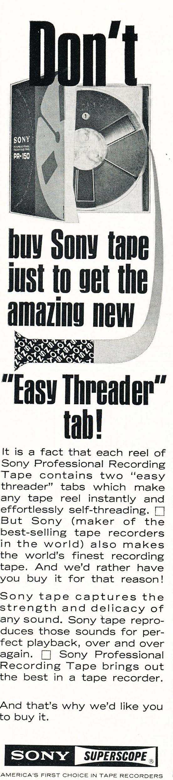1966 ad for Sony recording tape in Reel2ReelTexas.com vintage reel to reel tape recorder collection