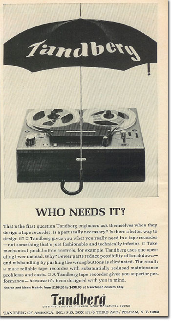 picture of 1966 Tandberg tape recorder ad