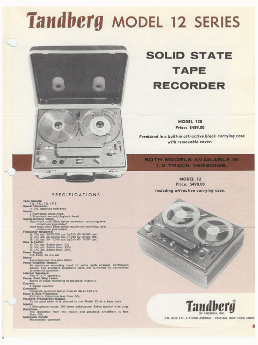picture of 1966 Tandberg Model 12 recorder  ad in Phantom Productions vintage reel to reel tape recorder documentation collection