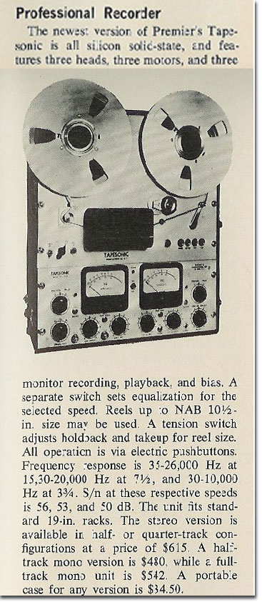1966 article on  Tapesonic photo in the Reel2ReelTexas.com vintage recording collection