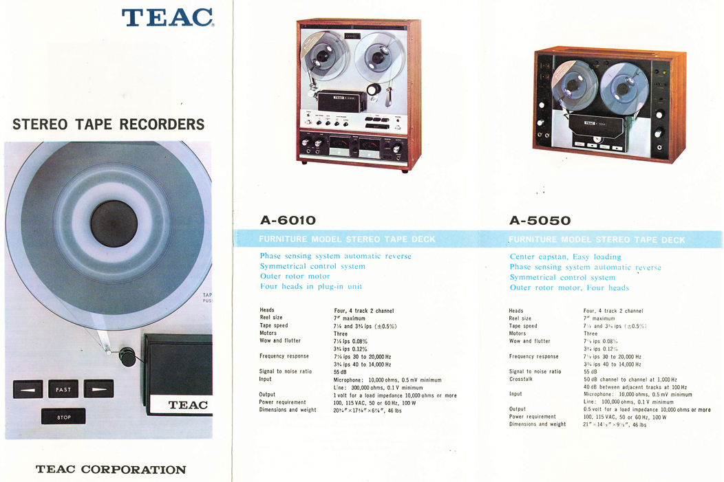 1966 brochure profiling Teac reel to reel tape recorders including the A-6010 and the A-5050 in Reel2ReelTexas.com's vintage recording collection