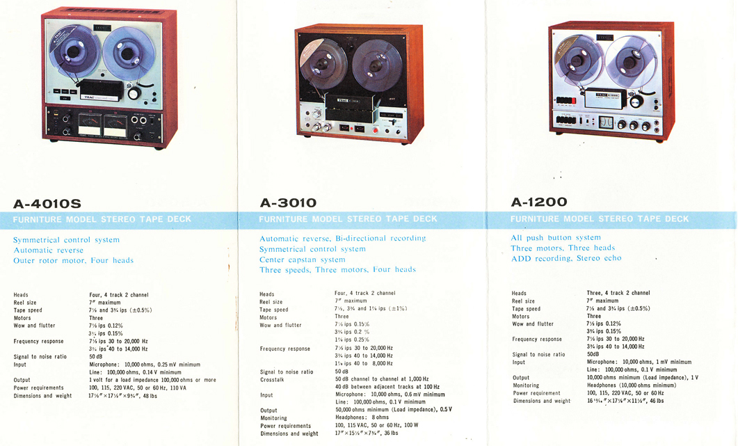 1966 brochure profiling Teac reel to reel tape recorders including the A-4010S, the A-3010 and the A-1200 in Reel2ReelTexas.com's vintage recording collection