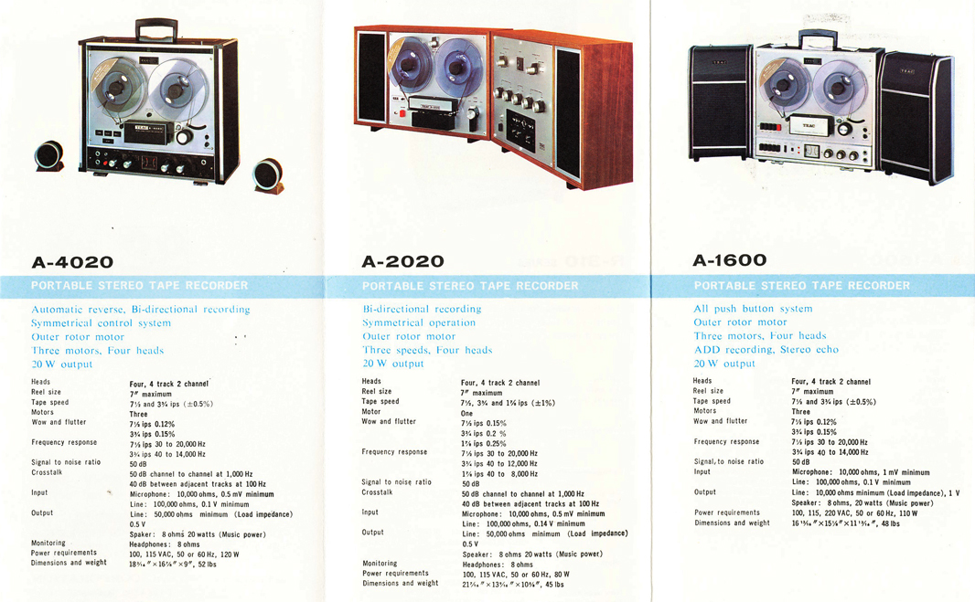 1966 brochure profiling Teac reel to reel tape recorders including the A-4020, the A-202 and the A-1600 in Reel2ReelTexas.com's vintage recording collection