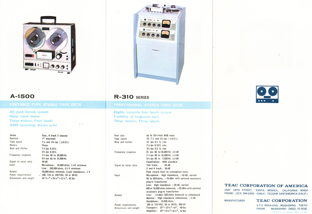 1966 brochure profiling Teac reel to reel tape recorders including the A-1500 and the professional R-310 in Reel2ReelTexas.com's vintage recording collection