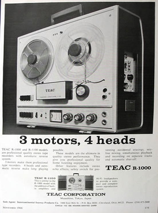 1966 ad for the Teac R-1000 in Reel2ReelTexas.com's vintage recording collection