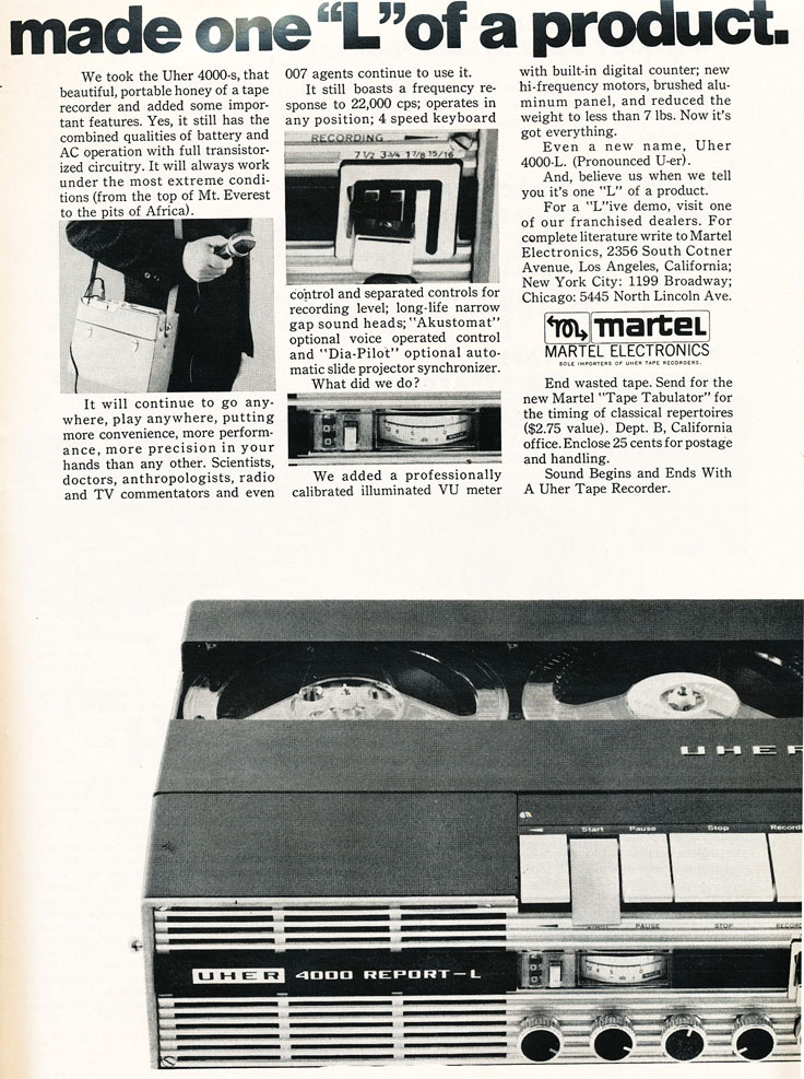 1966 Uher 4000Report-L Operating Instruction pages in Reel2ReelTexas.com's vintage reel tape recorder collection