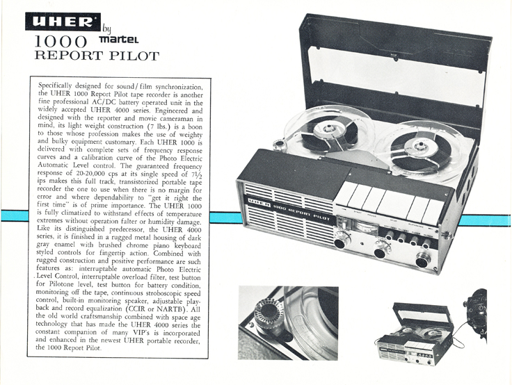 1966 Uher reel tape recorder brochure Model 1000 Report Pilot  in Reel2ReelTexas.com's vintage recording collection