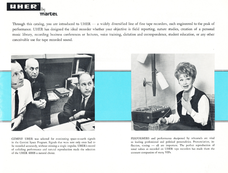 1966 Uher reel tape recorder brochure featuring Lucille Ball and NASA  in Reel2ReelTexas.com's vintage recording collection