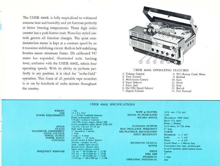 1966 Uher reel tape recorder brochure Model 4000 Report L in Reel2ReelTexas.com's vintage recording collection