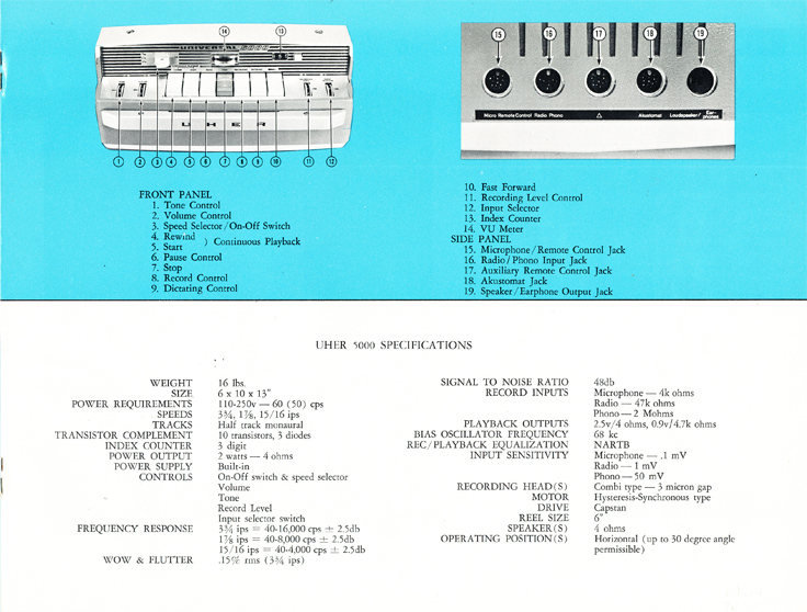 1966 Uher reel tape recorder brochure Model 5000 recorder in Reel2ReelTexas.com's vintage recording collection