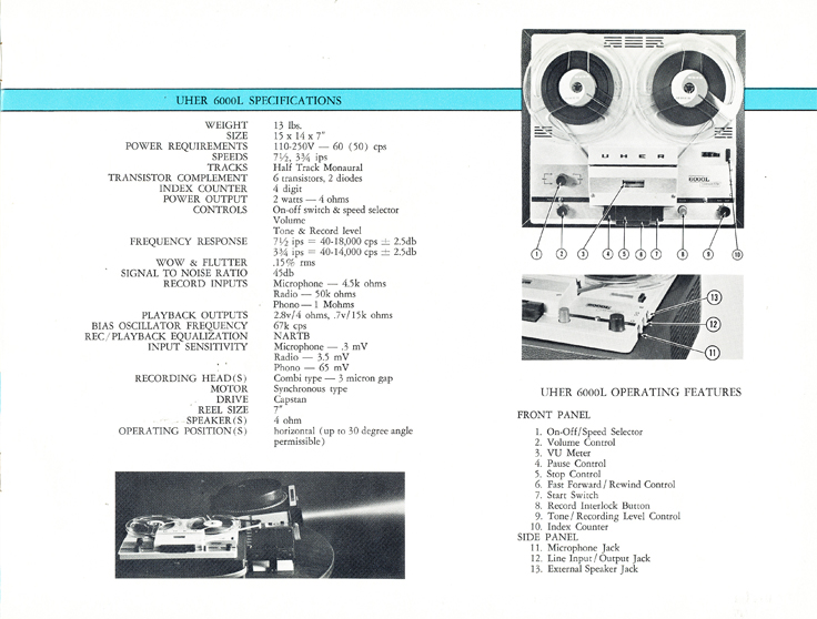 1966 Uher reel tape recorder brochure Model 6000L recorder in Reel2ReelTexas.com's vintage recording collection