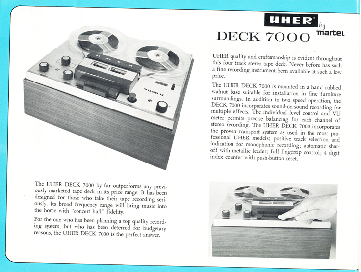 1966 Uher reel tape recorder brochure Model 7000L recorder in Reel2ReelTexas.com's vintage recording collection