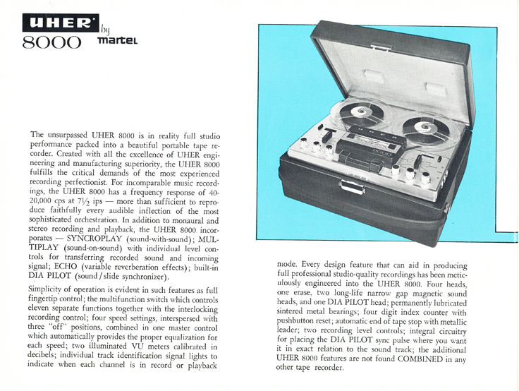 1966 Uher reel tape recorder brochure Model 8000 recorder in Reel2ReelTexas.com's vintage recording collection