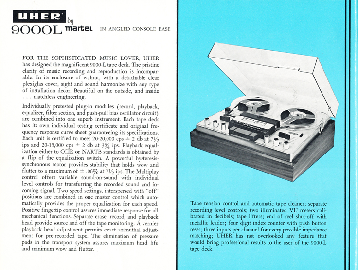 1966 Uher reel tape recorder brochure Model 9000L recorder in Phantom Productions' vintage recording colle