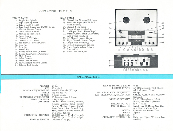 1966 Uher reel tape recorder brochure Model 9000L recorder in Reel2ReelTexas.com's vintage recording collection