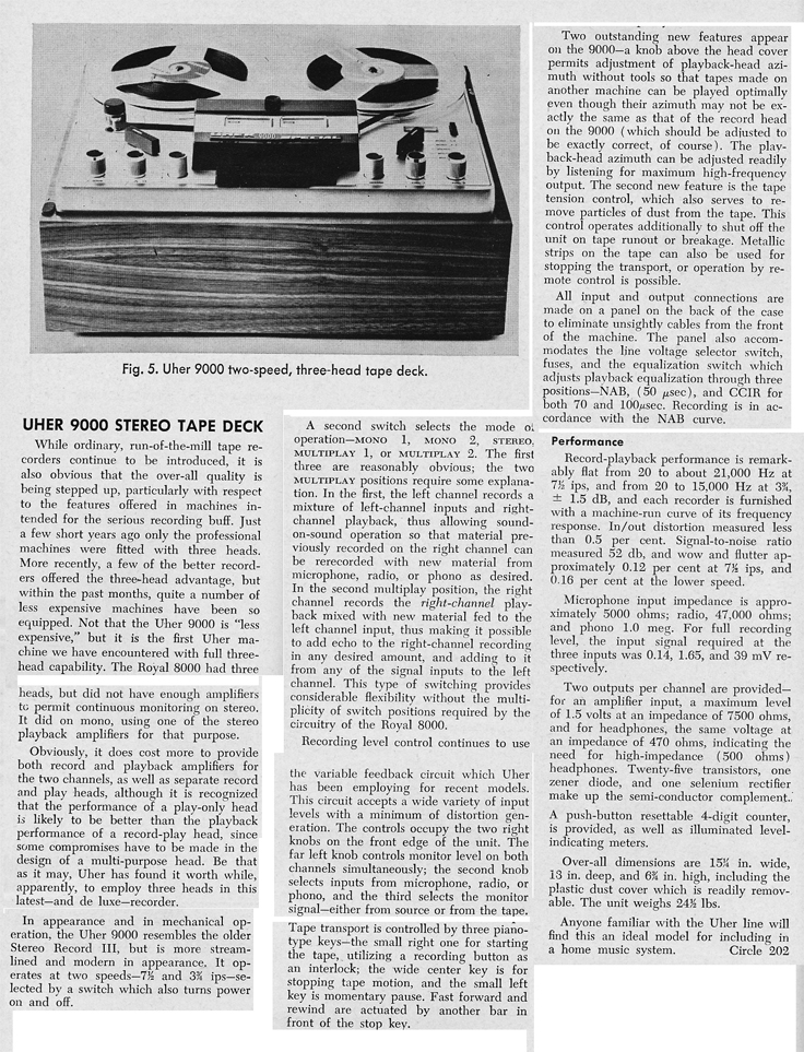 1966 review of the Uher 9000 reel to reel tape recorder